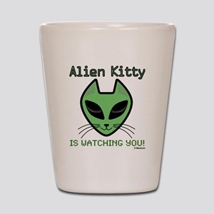 2-AlienKitty-IsWatching Shot Glass